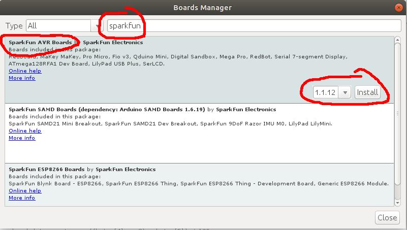 Install the correct board in Arduino
